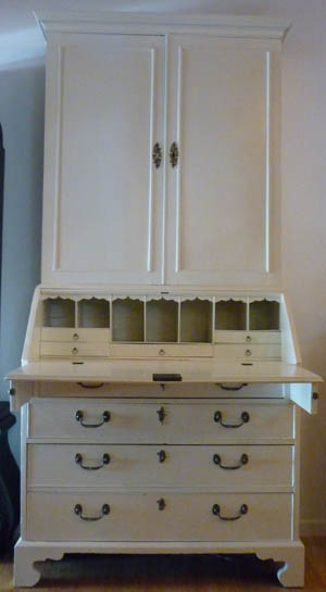 1780 English painted bureau bookcase