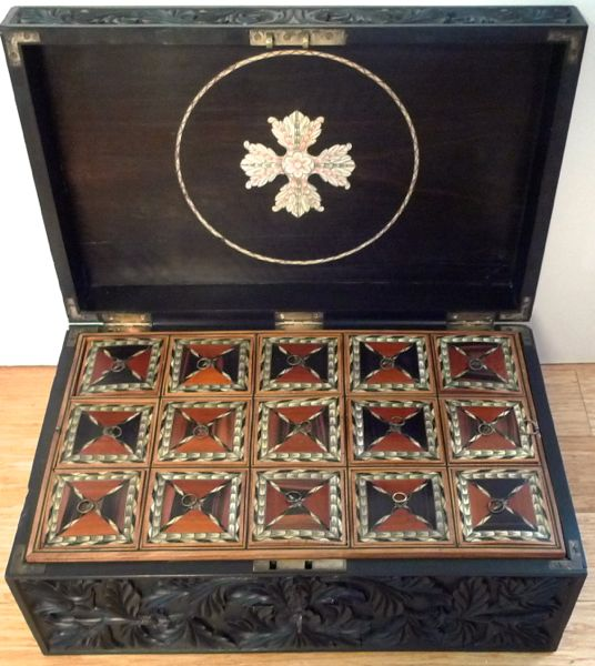 19C Magnificent Carved Ebony Box Sri Lanka