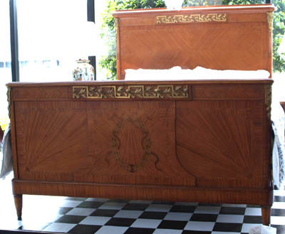A French satinwood inlay Queen size bed with gilt mounts c.1920-30s
