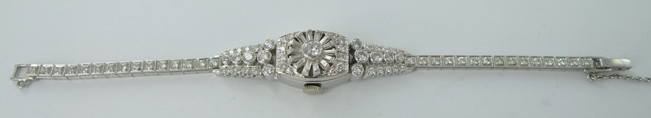 SOLD INCREDIBLE LADIES HAMILTON PLATINUM & 2.99 CTS OF DIAMONDS WRISTWATCH