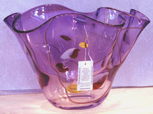 Jablonski Crystal Bowl - Purple with dots