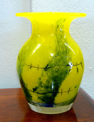 Adam Jablonski Crystal Art Glass Vase Yellow