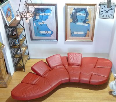 FLAP RED LEATHER SOFA DESIGNED BY FRANCESCO BINFARE BY EDRA C.2000S
