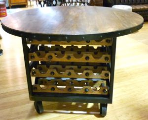 GREAT INDUSTRIAL STYLE ISLAND BENCH WINE RACK BAR TIMBER CAST IRON