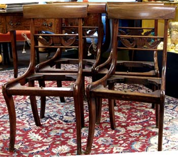 A Set of Sabre Leg Mahogany Chairs