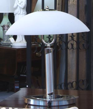 Deco Nickel Lamp with Glass Shade